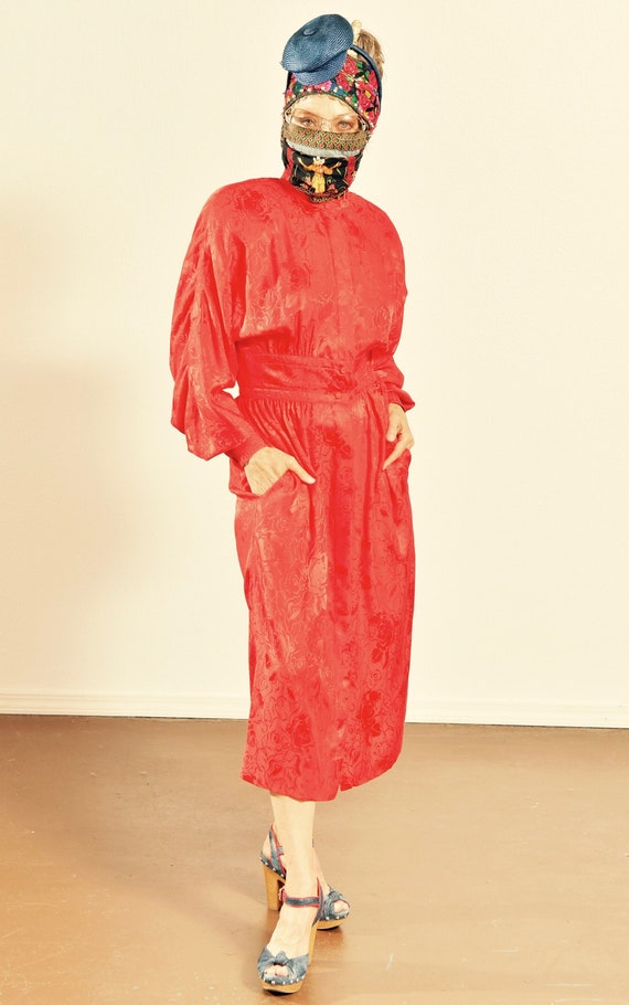 Adele Simpson/ Vintage Red Silk Dress/ 80's Silk D