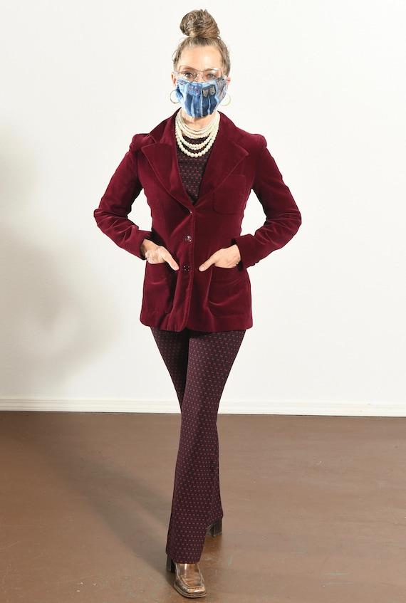 JH Harry's Santa Fe/ Vintage Velvet Blazer/ Burgu… - image 2