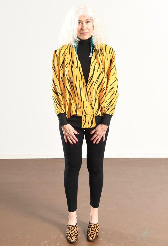 90's Animal Print Sweat-Zhirt/ Zebra Print Cardig… - image 2
