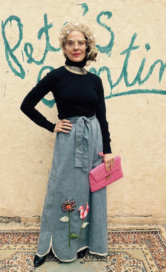 70's Denim Wrap Skirt/ Vintage Wrap Skirt/ 3d Stuf
