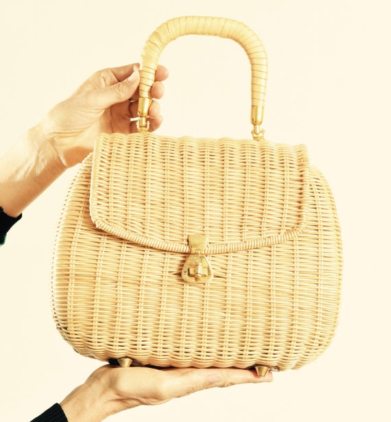 Wicker Purse/ Wicker Basket Handbag/ Wicker Handba