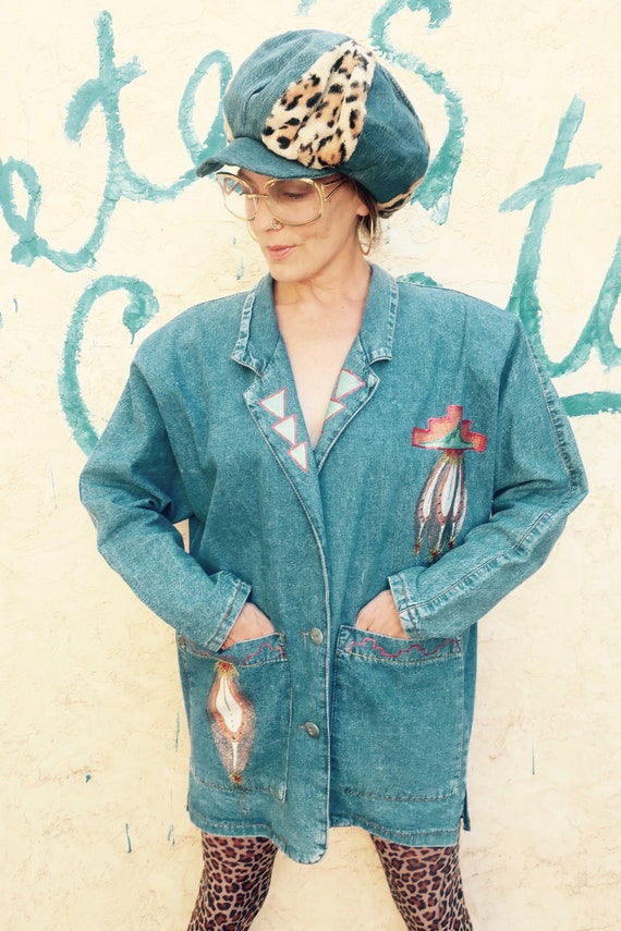 80's Southwest Denim Jacket/ Painted Southwest Den
