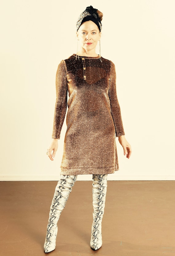 Metallic Mini Dress/ Metallic Twiggy Dress/ 60's M