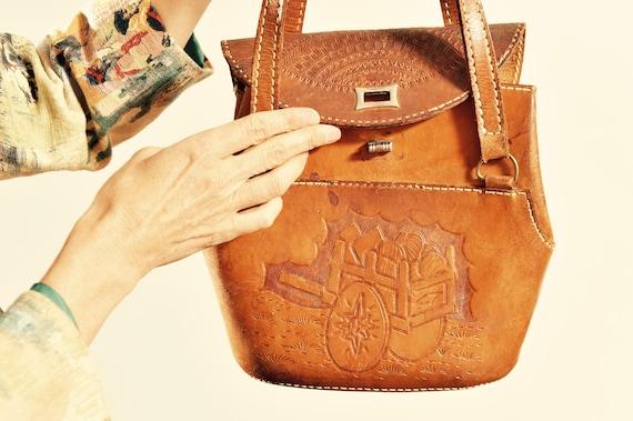 Vintage Embossed Leather Bucket Purse/ Tooled Leat