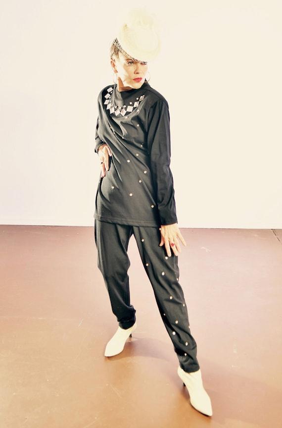 Vintage Black Studded Pantsuit/ 80's CERVELLE Embe
