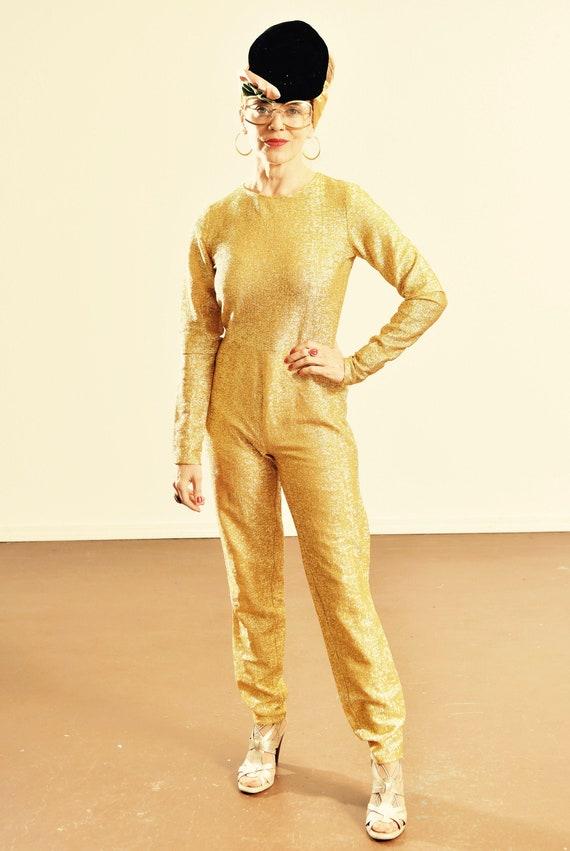60's Gold Jumpsuit/ 70's Gold Jumpsuit/ Vintage Go
