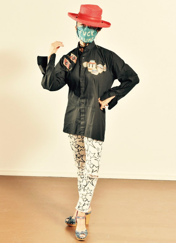 Modo Bianca/ Men's Black Tuxedo Shirt Painted Pueb