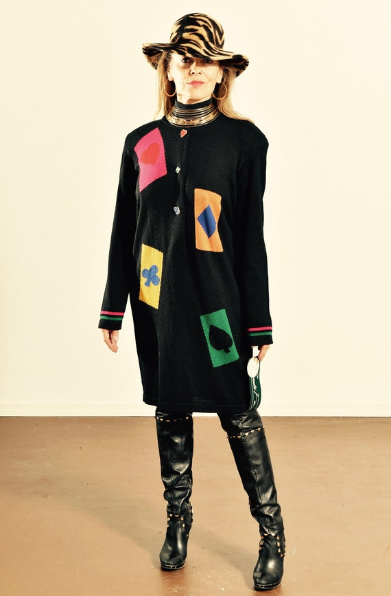 Santa Fe Sweater Dress/ 80's Sweater Dress/ Vintag