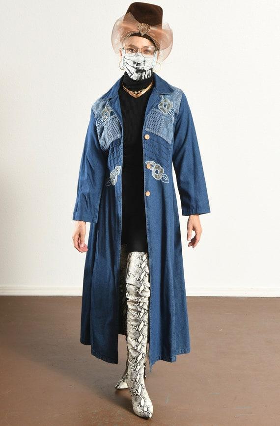 Styleworks/ Denim Duster/ Embroidered Denim jacke… - image 6