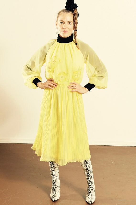 Vintage Chiffon Dress/ Yellow Chiffon Dress/ 70's