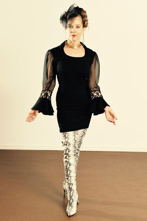 Cristina Dress/ 1960's Black Knit Dress with Sheer
