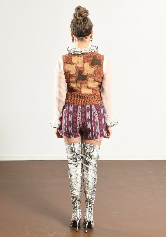 HARPEES/ 70's Suede Patchwork Sweater/ Suede Patc… - image 4