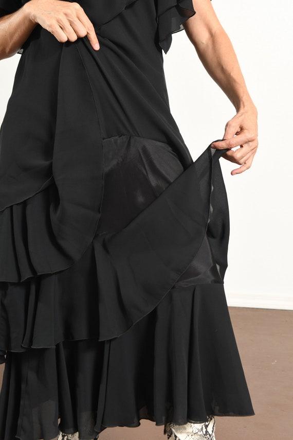 After Dark 80's Dress/ Vintage Black Chiffon Dres… - image 8