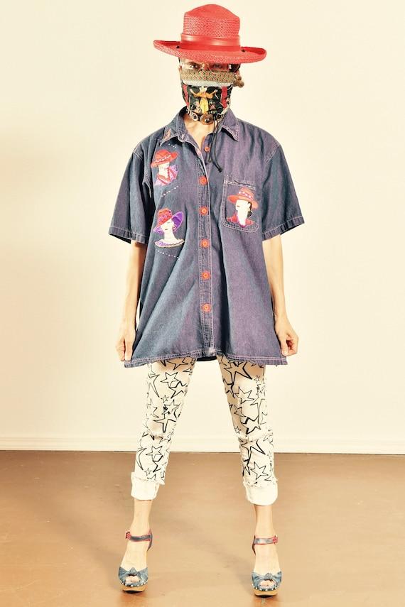 Hot Dames by Belle/ 80's Purple Denim Shirt/ 80's