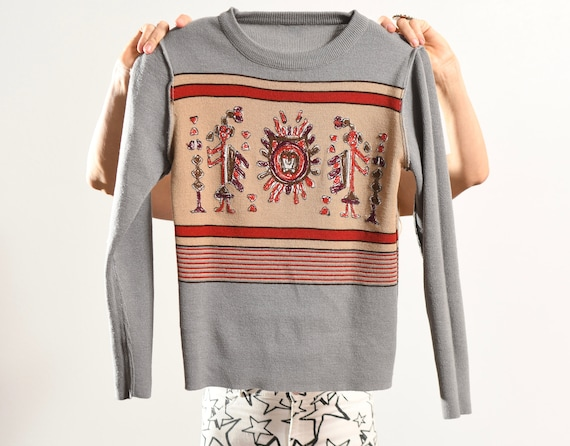 Vintage South American Sweater Embroidered/ 70's … - image 9