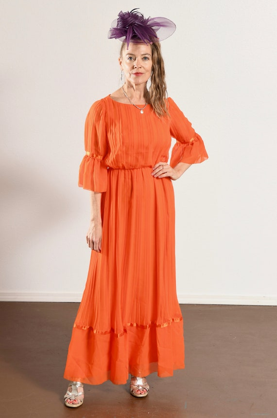 Carrie Couture/ Vintage Chiffon Prom Dress/ 70's … - image 2