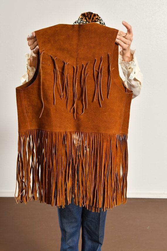 70's Suede Fringe Vest/ Vintage Suede Fringe Vest… - image 7