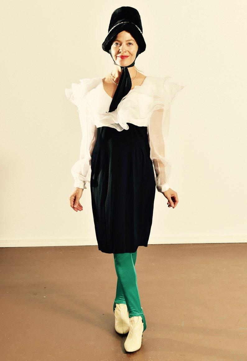Michael Marcella LTD 80/'s Formal Dress 80/'s Sheer Dress 80/'s Pencil Skirt Formal Dress Sheer Ruffled Dress Size 6
