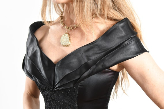 GUNNE SAX Black Dress/ 80's Gunne Sax Prom Dress/… - image 7
