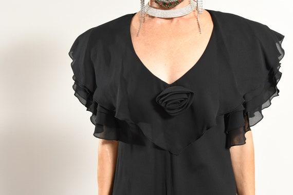 After Dark 80's Dress/ Vintage Black Chiffon Dres… - image 6