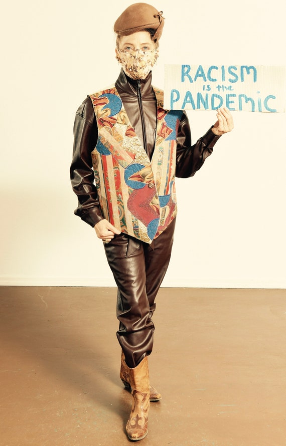 Handmade Patchwork Vest/ Patchwork Vest/ 80's Patc