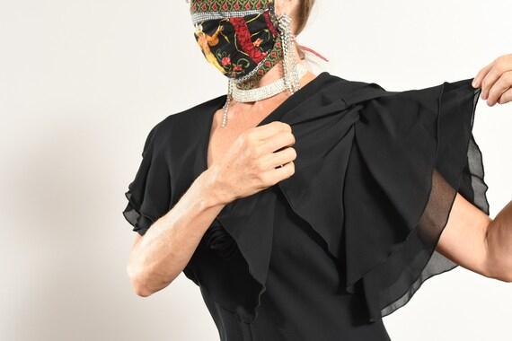 After Dark 80's Dress/ Vintage Black Chiffon Dres… - image 7
