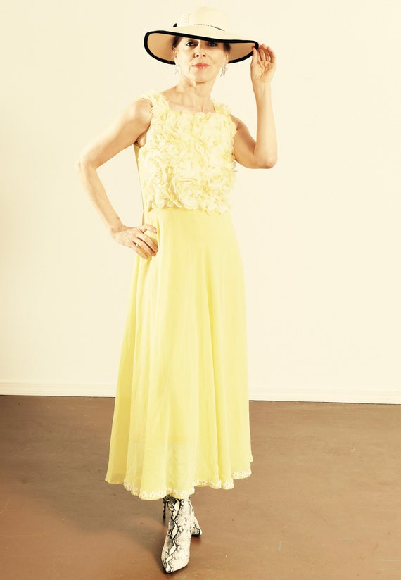 Vintage Chiffon Dress/ Yellow Chiffon Dress/ Flora