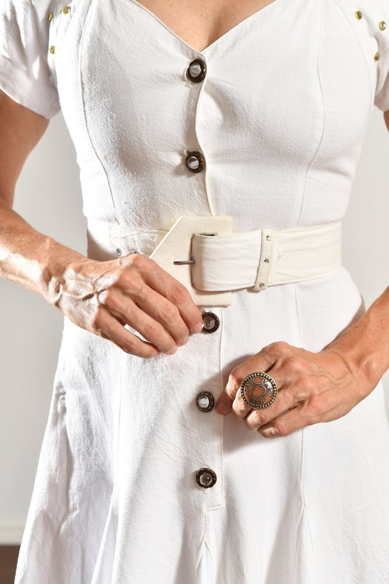 80/'s Studded Denim Dress Country Western Denim Dress White Denim Dress Southwest Denim Dress Dolly Parton Dress Cowgirl Dress Size 4