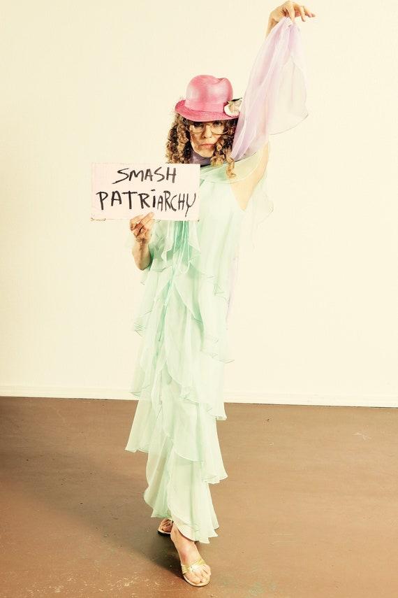 70's Chiffon Dress/ Chiffon Prom Dress/ Chiffon Sc