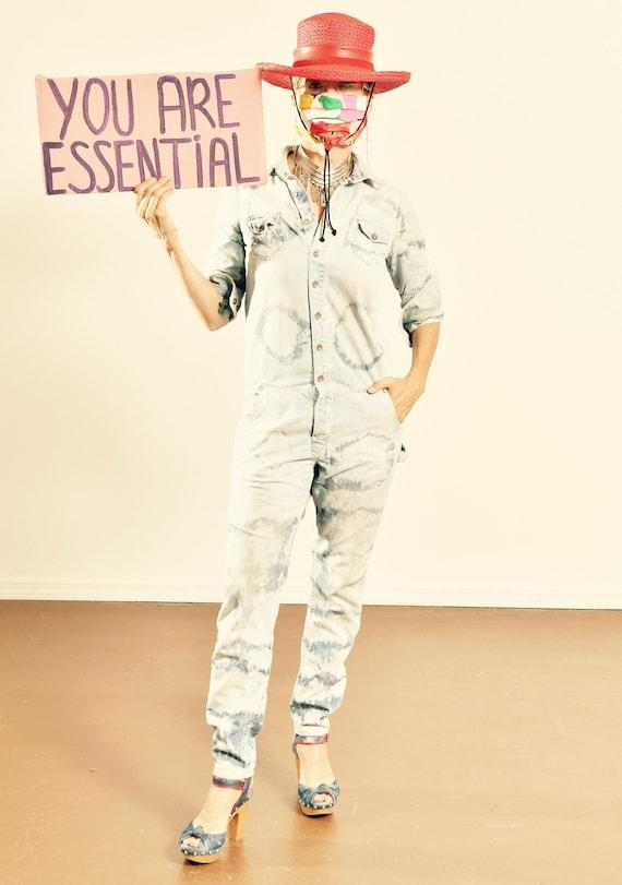 H&M Denim/ Denim Jumpsuit/ Denim Tie Dye Jumpsuit/