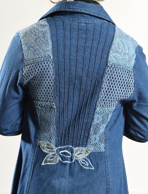 Styleworks/ Denim Duster/ Embroidered Denim jacke… - image 9