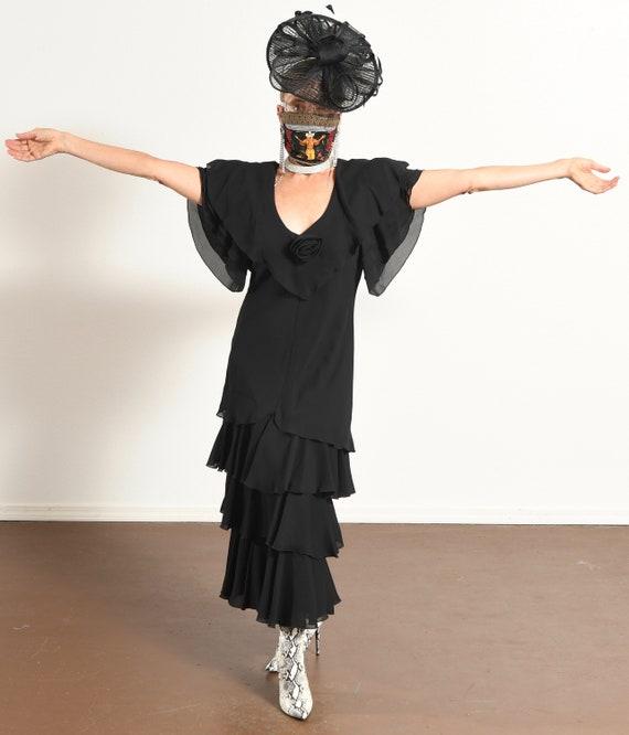After Dark 80's Dress/ Vintage Black Chiffon Dres… - image 2