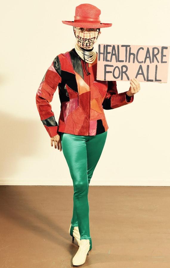 Margaret Godfrey/ 90's Patchwork Leather Jacket/ P