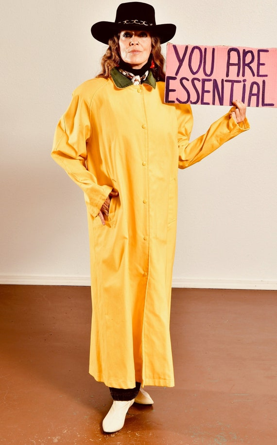 FORENZA/ 80's Canvas Duster/ Canary Yellow Coat/ M