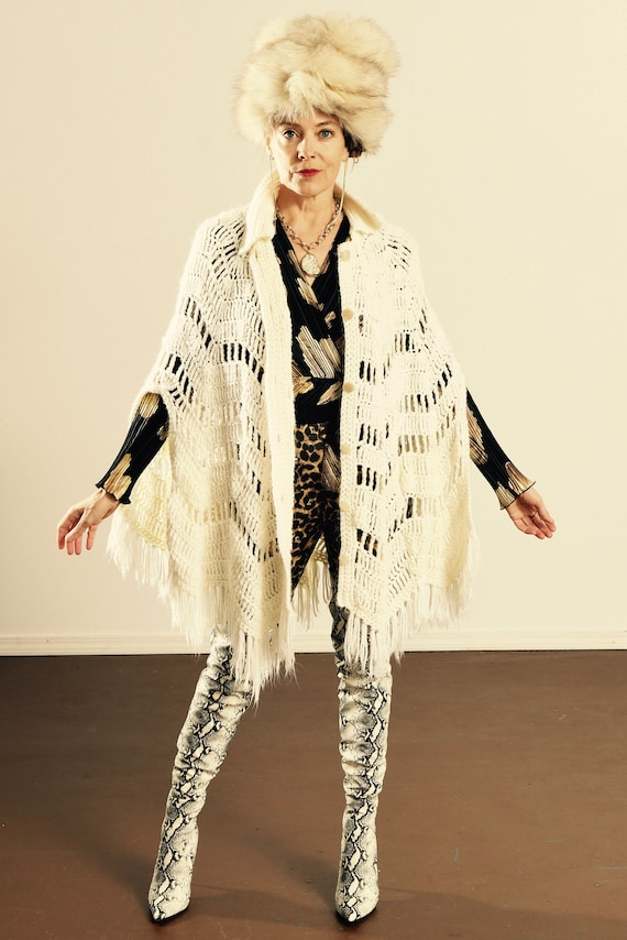 RESERVED for Lisa/ 70's White Fringe Poncho/ 70's