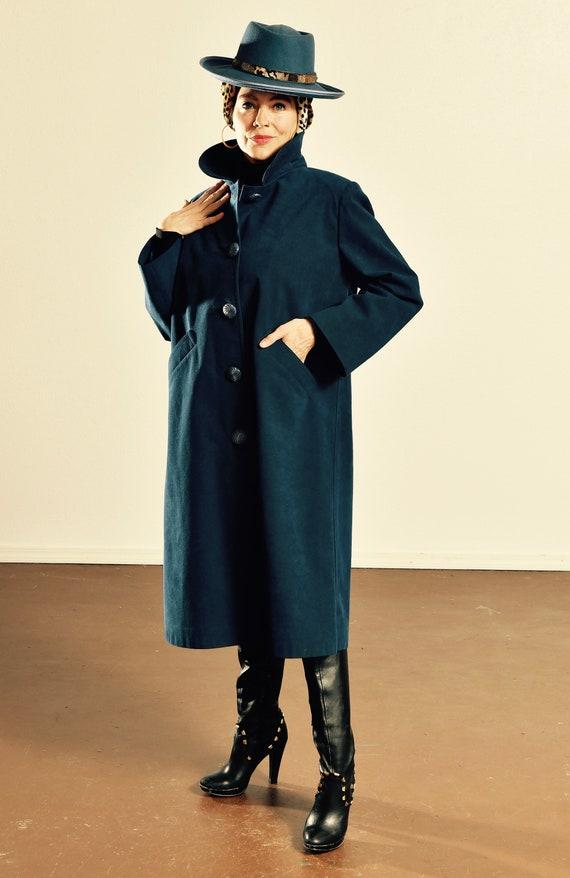 Faux Suede Dress Coat/ Blue Suede Duster/ Vintage