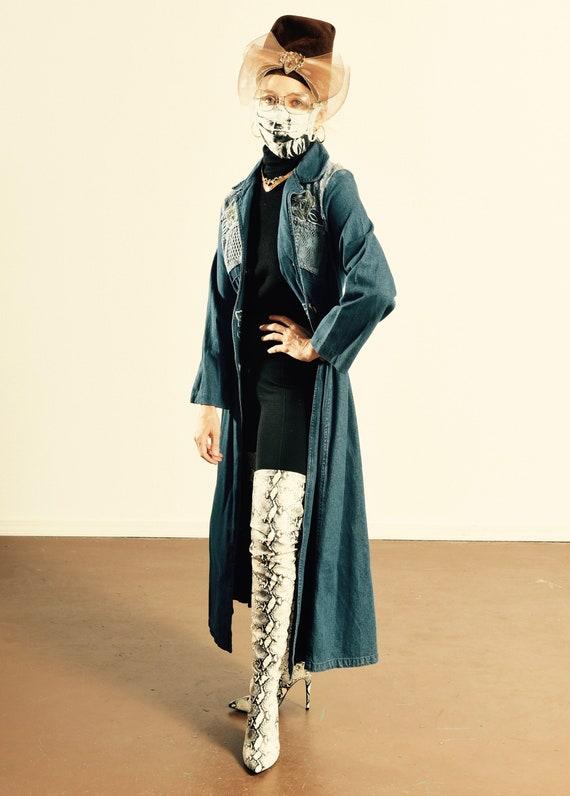 Styleworks/ Denim Duster/ Embroidered Denim jacke… - image 1