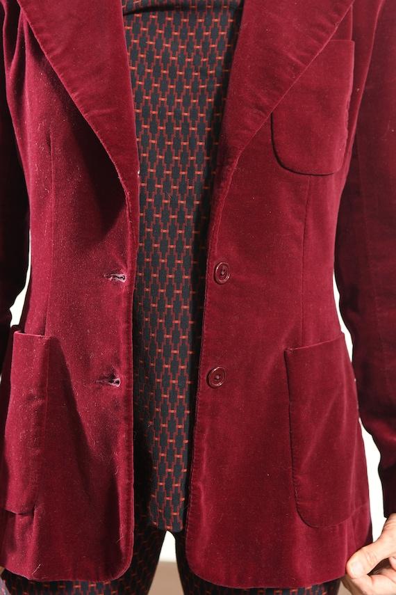 JH Harry's Santa Fe/ Vintage Velvet Blazer/ Burgu… - image 7