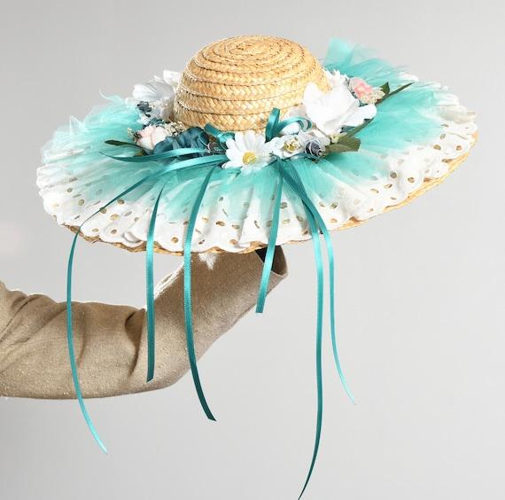 Wide Straw Brim Hat/ Edwardian Straw Hat/ Straw H… - image 8