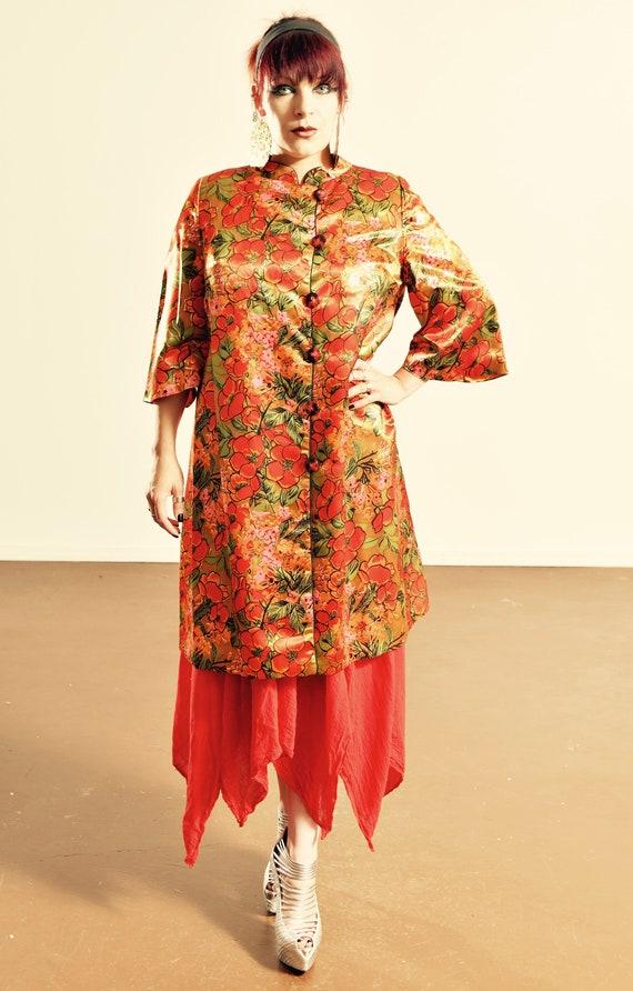 Vintage Satin Opera Coat/ 50's Opera Coat/ Mandari
