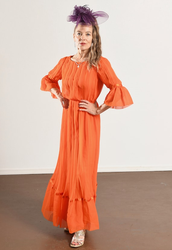 Carrie Couture/ Vintage Chiffon Prom Dress/ 70's … - image 6