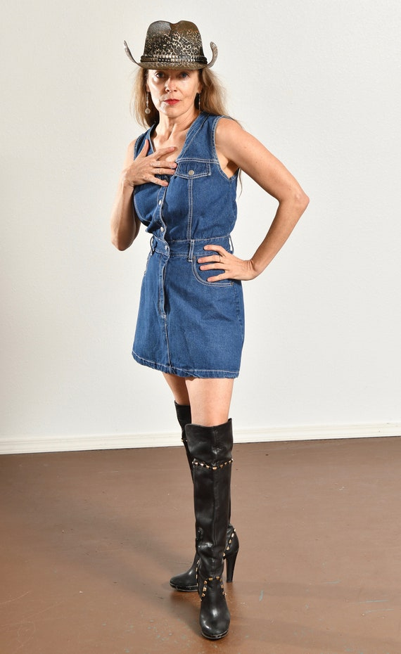 Paris Blues Jean Romper/ 90's Denim Romper/ Vinta… - image 5
