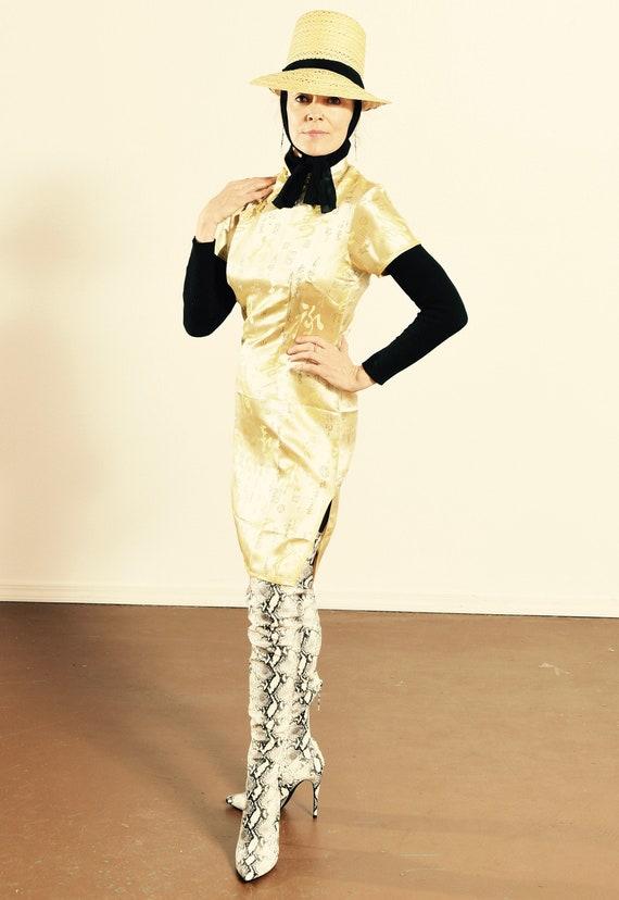 Gold Cheongsam Dress/ Metallic Cheongsam Dress/ Kn