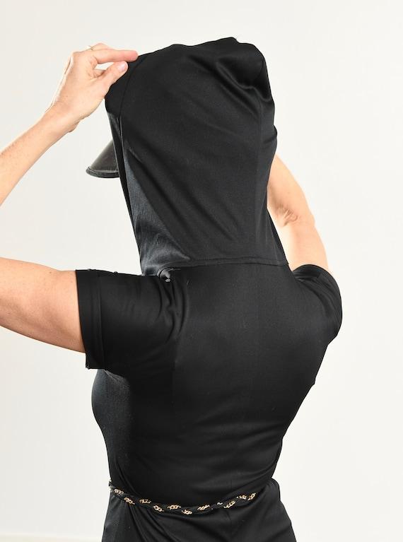 70's Disco Jumpsuit/ 70's Hooded Jumpsuit/ Black … - image 8