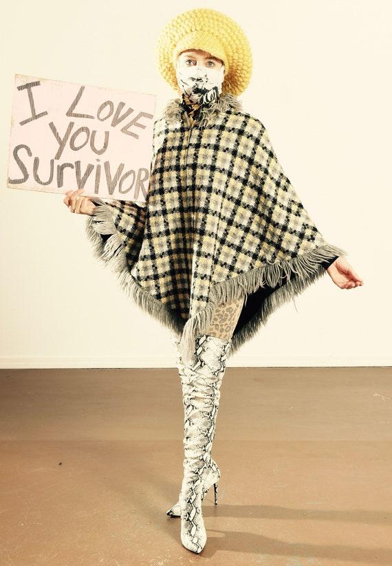 Tweed Poncho/ Wool Check Poncho/ Check Poncho/ Pla