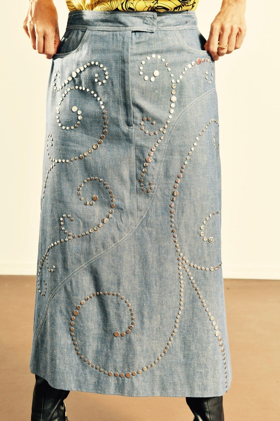 Light Wash Denim Studded Skirt/ 80's Denim Studded