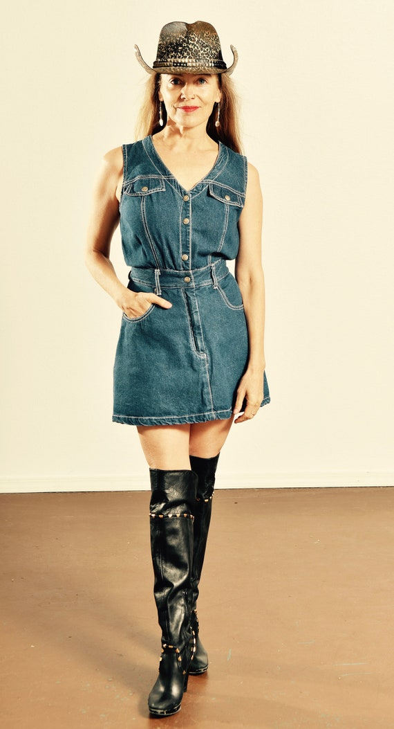 Paris Blues Jean Romper/ 90's Denim Romper/ Vinta… - image 1