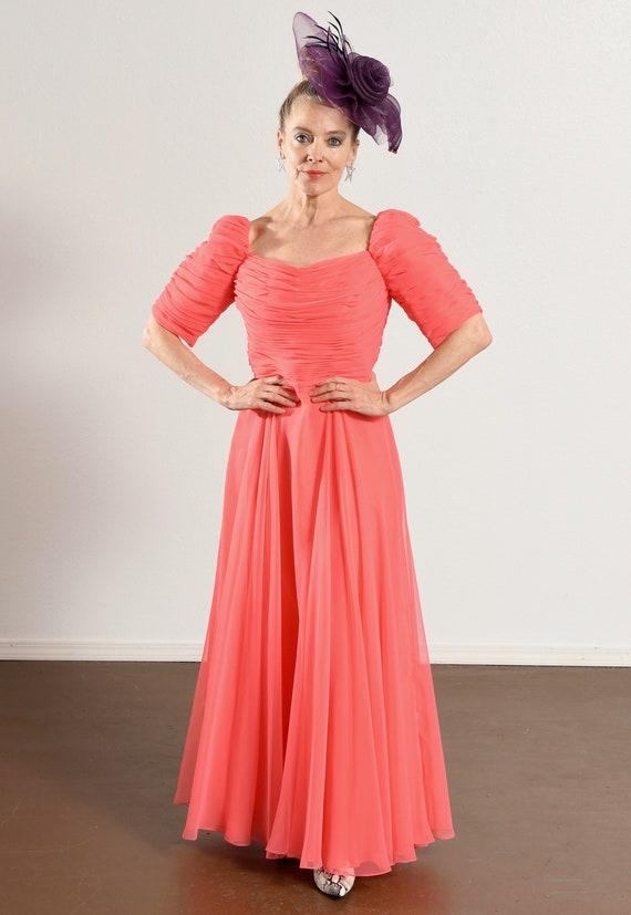 70's Pink Chiffon Prom Dress/ Chiffon Prom Dress/… - image 2