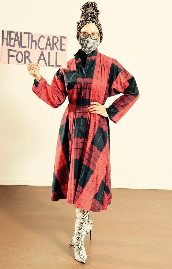 Caron of Chicago/ Vintage Plaid Dress/ Plaid Shirt