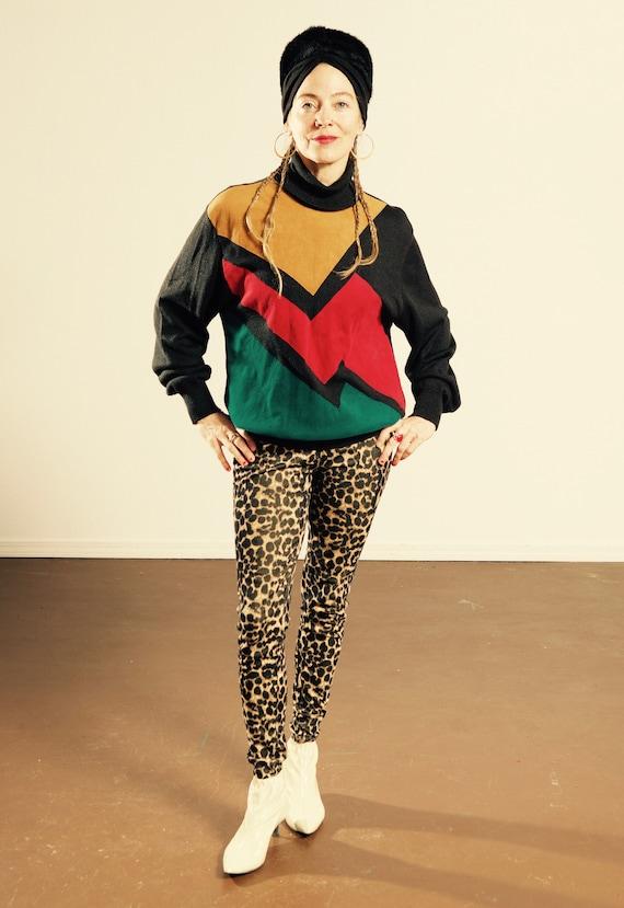 Lilli Ann/ Suede Knit Turtleneck Sweater/ Black Kn